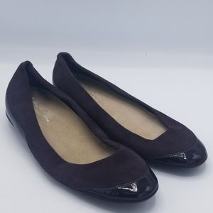 Kenneth Cole suede and patent leather flats